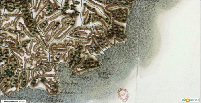 Carte de Cassini, fin du XVIIIe siècle.
